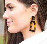 Tortoise rectangular earring