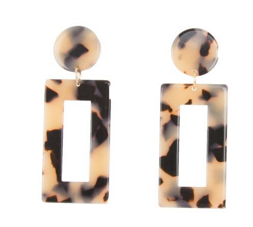 TORTOISE BLONDE RECTANGLE  EARRING