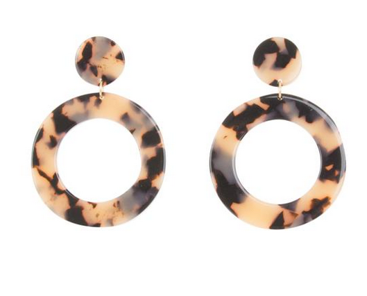 Tortoise circle earrings