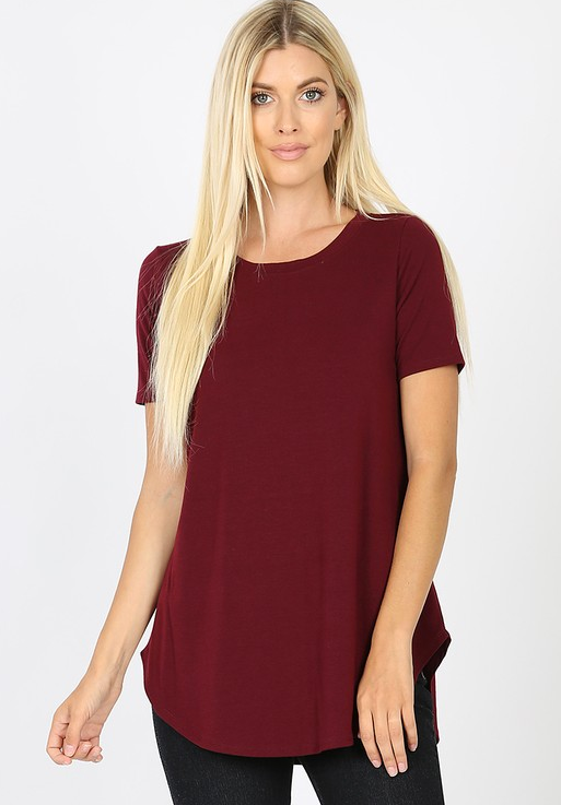 Short sleeve round neck hem top
