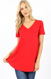 Short sleeve v-neck hem top