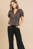 bell sleeve v-neck sequin top front gathered detail with slit
