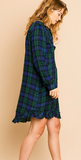 Plaid front button collared ruffle scoop hem dress
