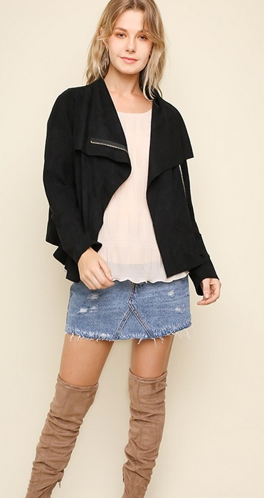 Suede zip up moto jacket