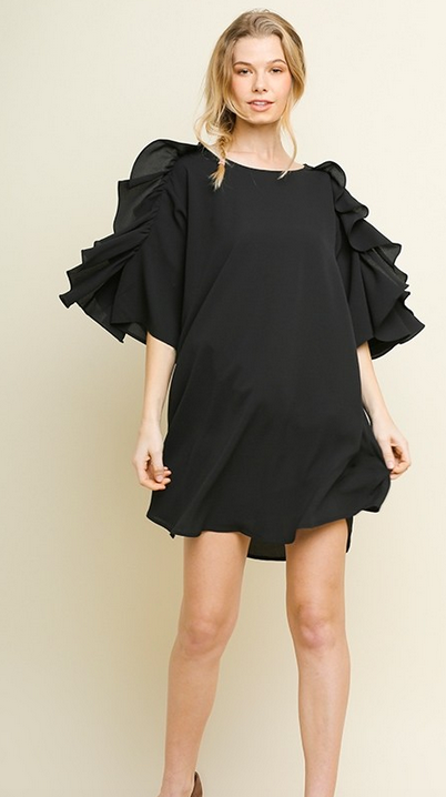 Ruffled bell sleeve hem dress