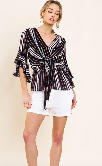 Striped ruffle bell sleeve v-neck with center tie and ruffle trim