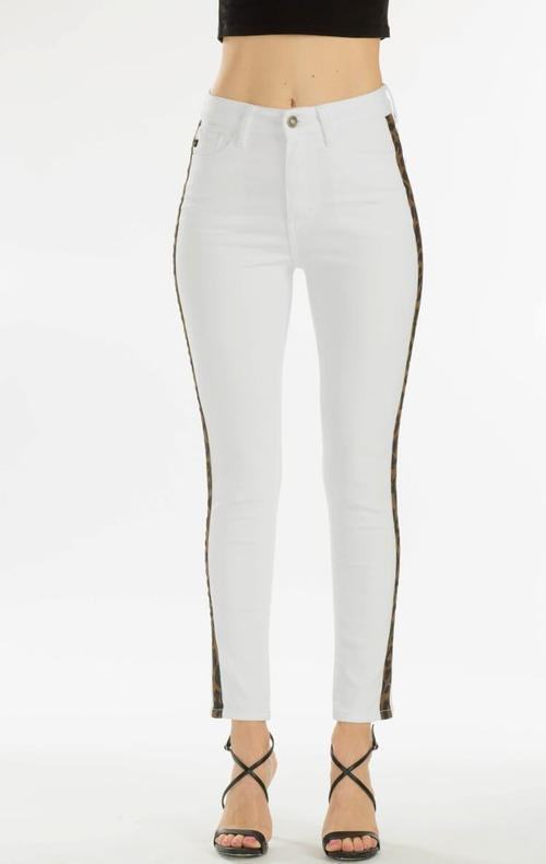 High rise skinny with leopard tape