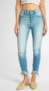 High rise ankle skinny jean with distressed bottom