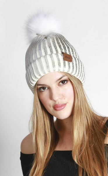 Metallic ribbed pom pom beanies