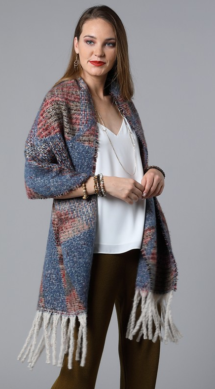 Printed patterned tassel knit scarf