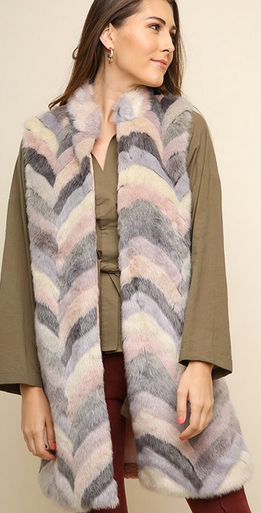 Chevron open front furry vest with solid back