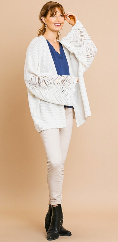 Crochet bell sleeve knit cardigan