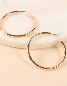 Round metal open hoop earrings