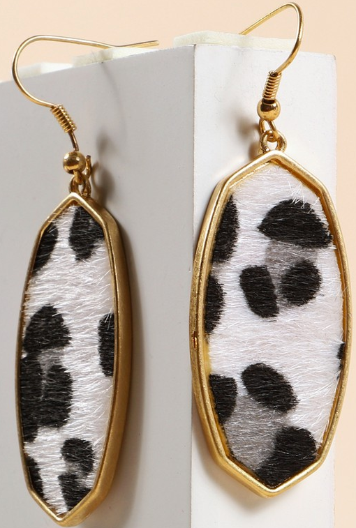 Animal print calf hair hexagon earrings