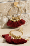 Textured Ring Tassel dangle earrings