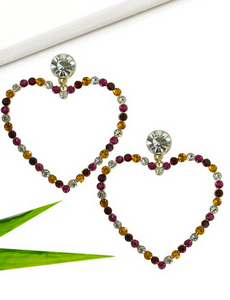 Drop Heart shaped Rhinestone Earrings