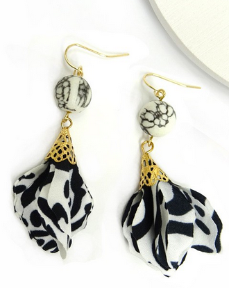 Marble and fabric earring