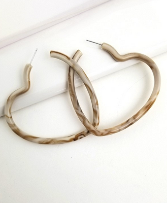 Marbled Hoop Heart earring