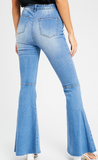 High rise flared denim jenas