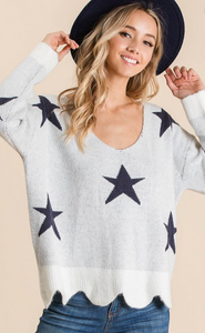 Vneck all over star scallop sweater