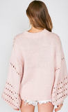 Balloon sleeve open-knit sweater