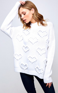 Heart shaped pompom sweater