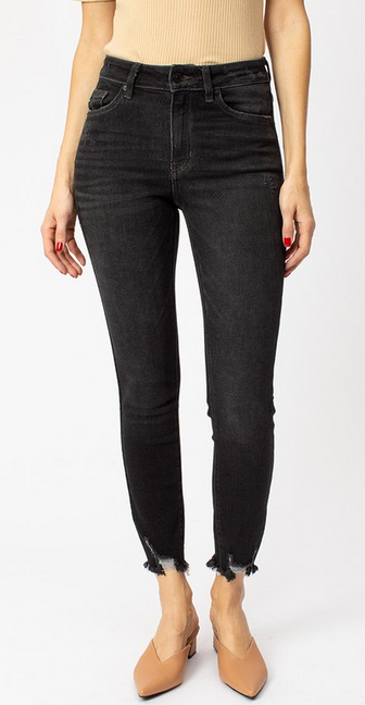 Dark denim highrise distressed bottom