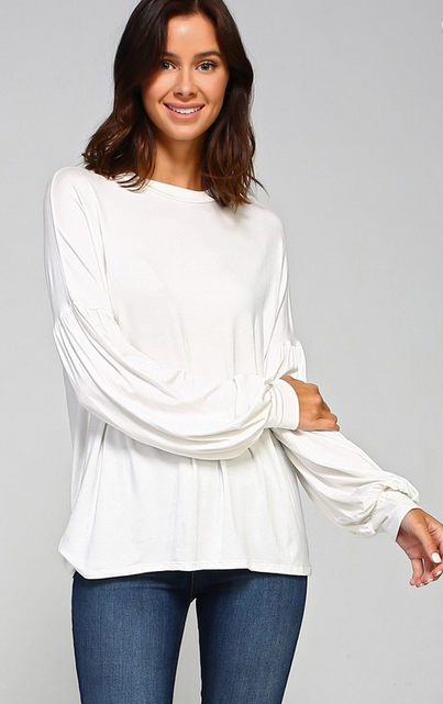 Solid jersey bubble sleeve top Ivory
