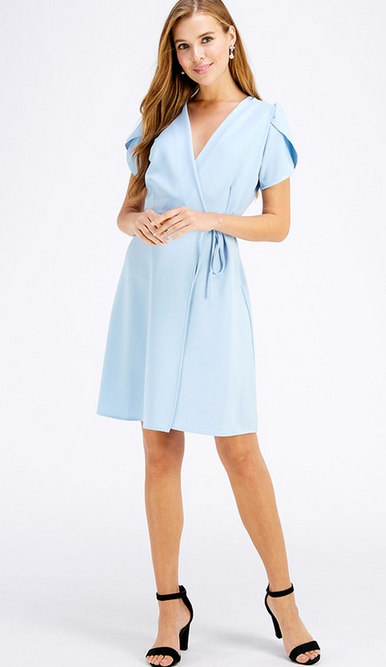 Solid tulip sleeve wrap dress