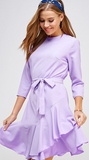 Solid asymmetrical ruffle hem belted dress