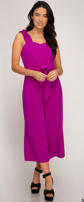 Magenta ruffled strap heavy knit jumpsuit