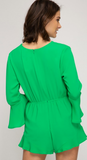 Apple green bell sleeve romper with front tie detail