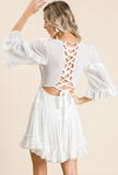 Crinkle woven lace up back dress