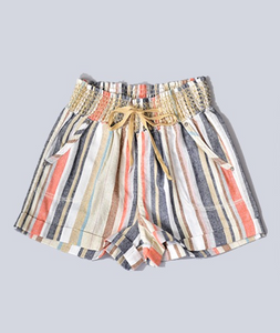 Linen Multi Color Stripe Elastic Waist Shorts