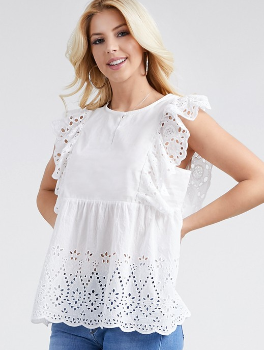 White Ruffle Neck Eyelet Top