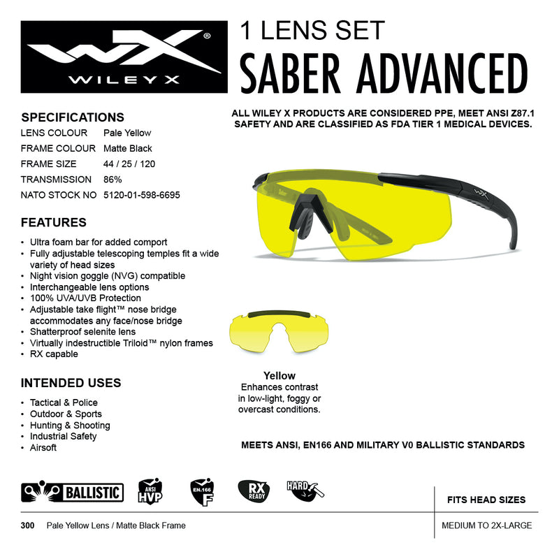 Wiley X Saber Advanced yellow lens