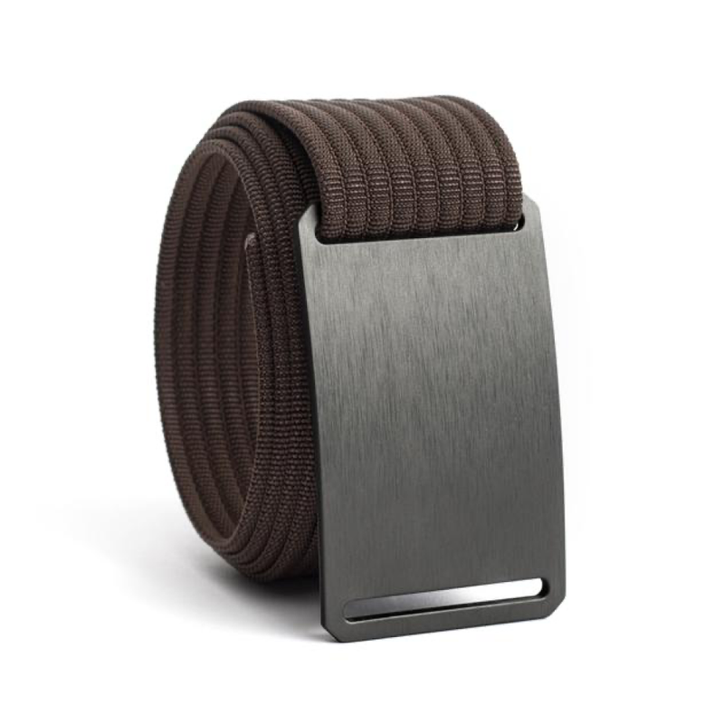 Gunmetal Narrow Belt with 1.10 Mocha Strap - Bellmt