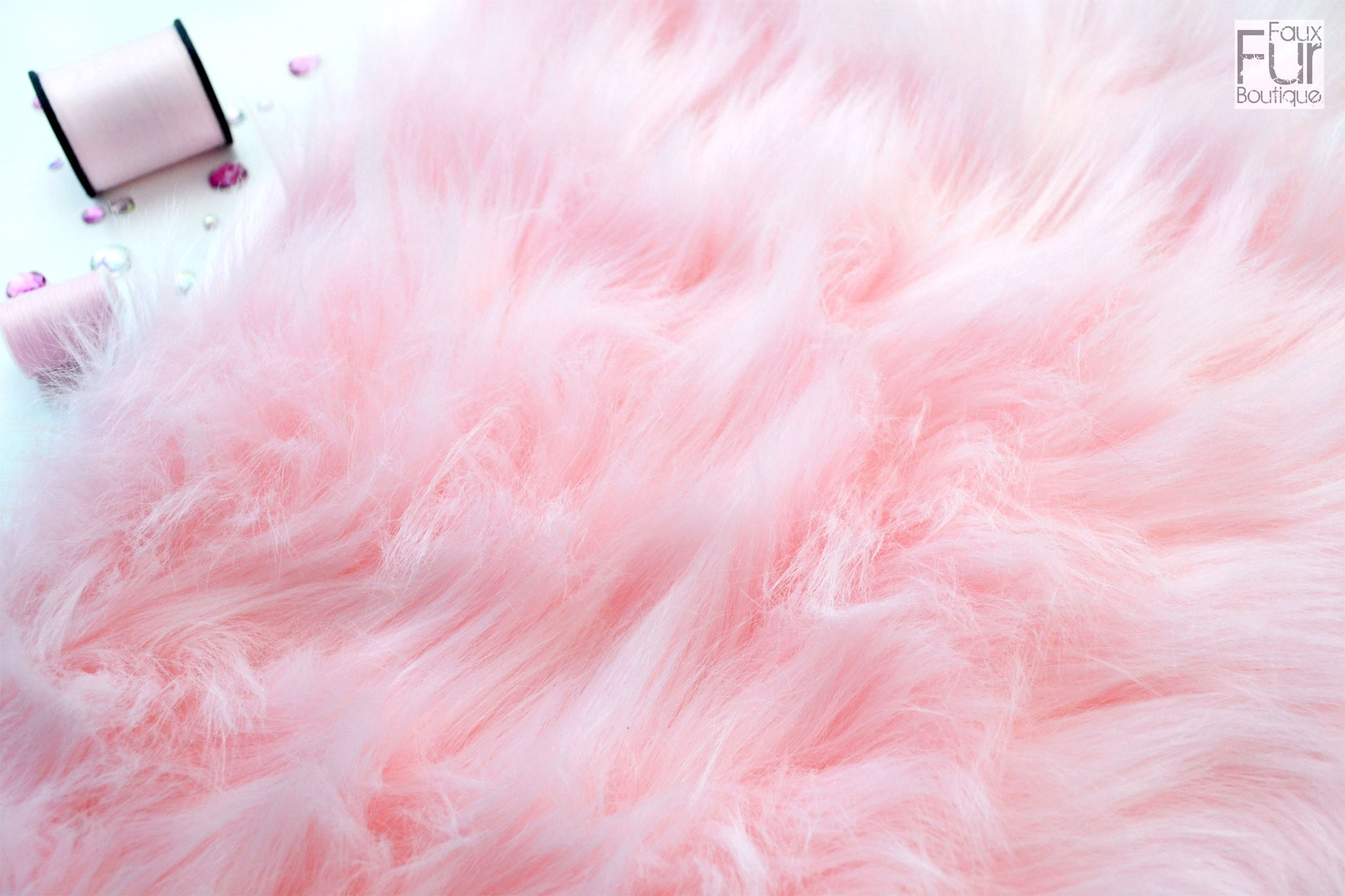 SHORT Faux Fur Fabric Baby PINK PASTEL