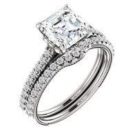 Asscher Cut Diamond Pave Bridal Ring