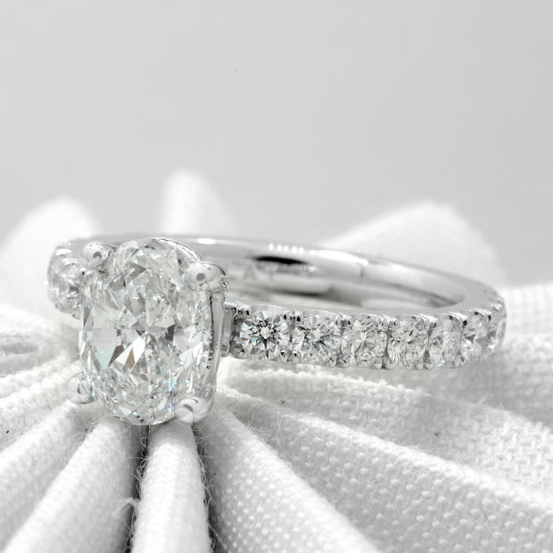 2.10 Ct. Classico Oval Cut Diamond Engagement Ring Set F Color VS2 GIA Certified