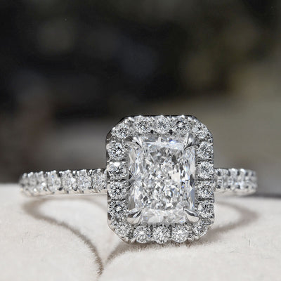 1.60 Ct. Halo Radiant Cut Diamond Engagement Ring F Color VS1 GIA Certified