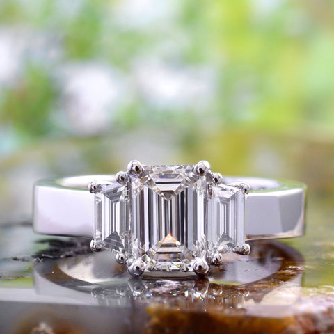 1.80 Ct. 3 Stone Emerald Cut & Trapezoids Diamond Ring I color VVS1 GIA certified