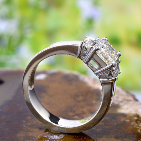 2.60 Ct. Emerald Cut n Trapezoids 3 Stone Diamond Ring G Color VS1 GIA Certified