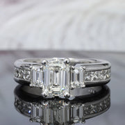 3.20 Ct. Emerald Cut Diamond Engagement Ring Set I Color VS1 GIA certified