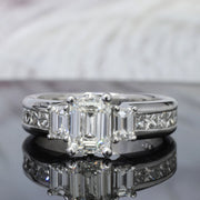 3.20 Ct. Emerald Cut Diamond Engagement Ring Set H Color VS1 GIA certified