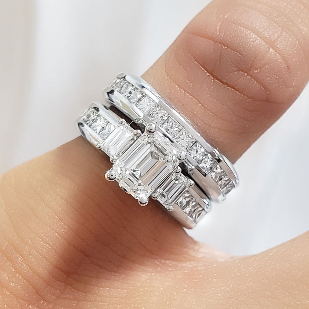 3.40 Ct. Emerald Cut Diamond Engagement Ring Set F Color VS1 GIA certified