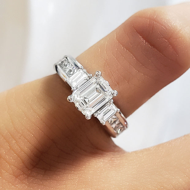 1.90 Ct. Emerald Cut 3 Stone Diamond Engagement Ring I Color VS1 GIA Certified