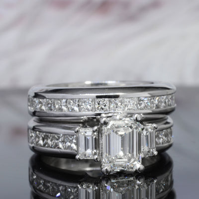 3.70 Ct. Emerald Cut Diamond Engagement Ring Set G Color VS1 GIA certified
