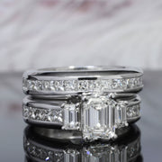 4.20 Ct. Emerald Cut Diamond Engagement Ring Set G Color VS1 GIA certified
