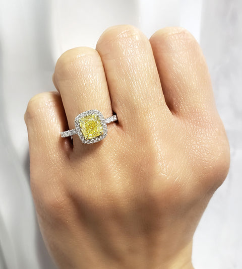 2.45 Ct. Halo Canary Cushion Cut Diamond Ring Fancy Yellow  VS1 GIA Certified